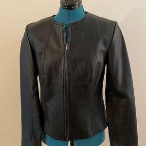 Newport News Black Short Leather Jacket